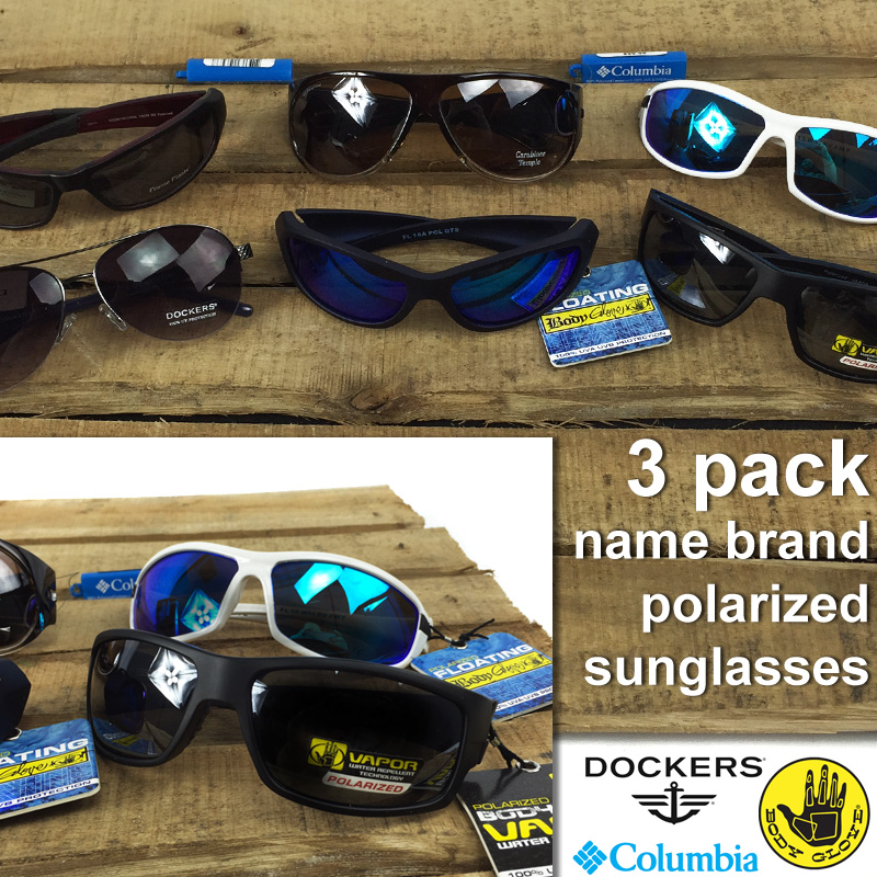 3 Pack Mens or Womens Name Brand Polarized Sunglasses w/Cases