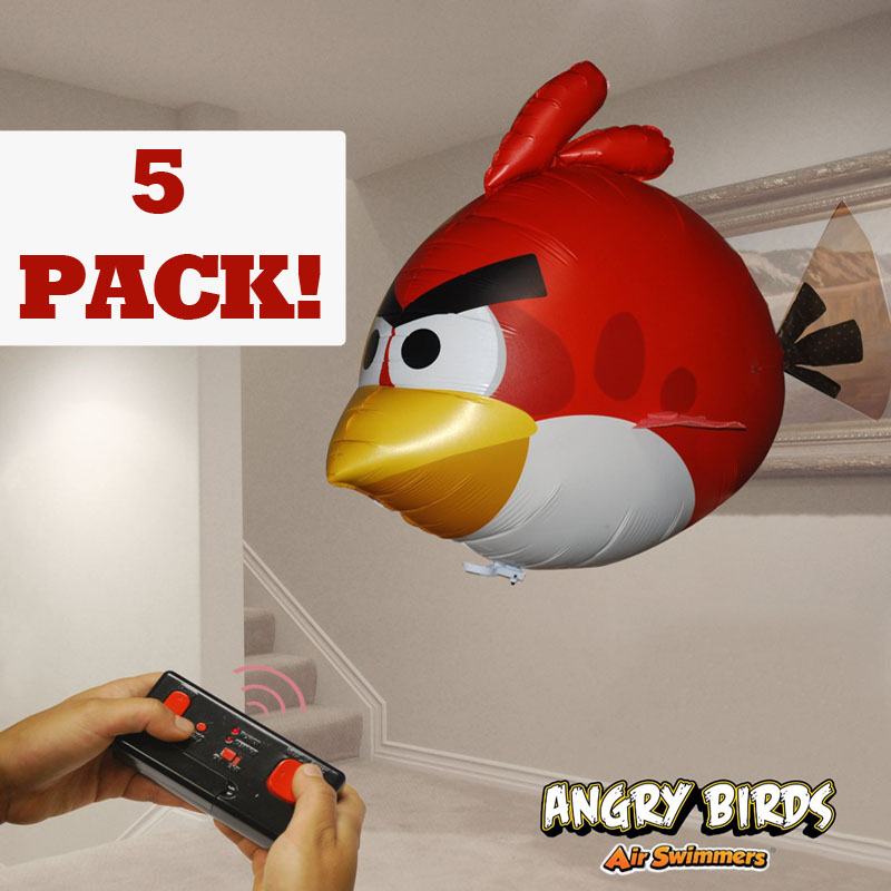 5 Pack of Angry Birds Air Swimmers Turbo - Flying Remote Control Balloon Toys - SHIPS FREE!