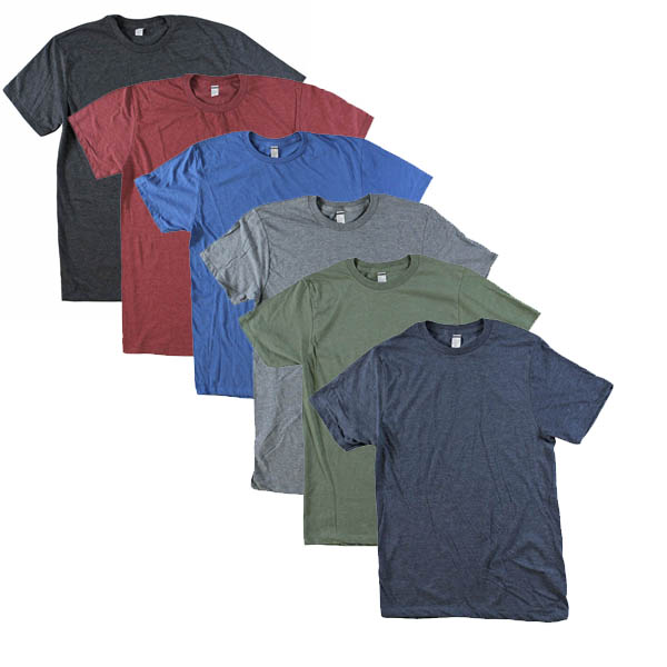 6 Pack of Assorted Ultra Soft Lightweight Heathered Cotton Blend T-Shirts - Just $3.99 per shirt! SHIPS FREE!