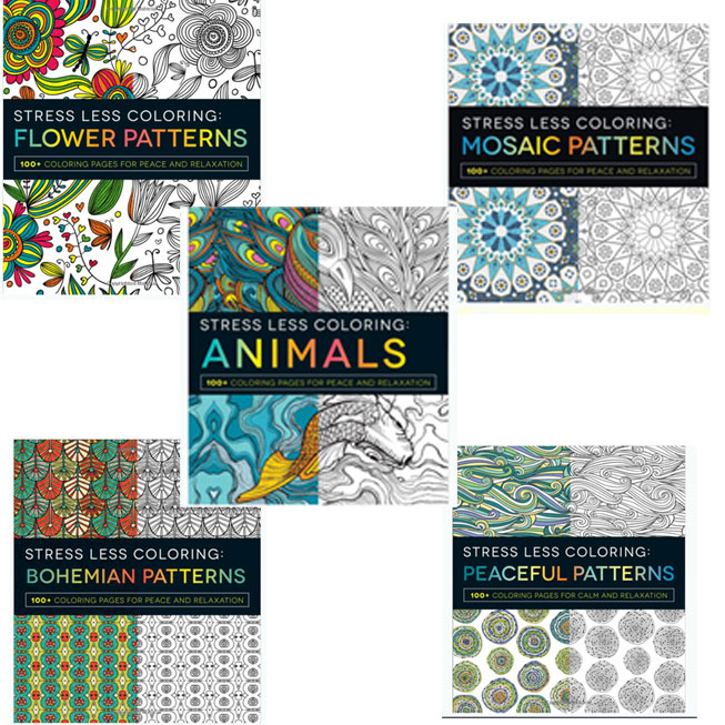 5-Pack Stress Less Coloring Books