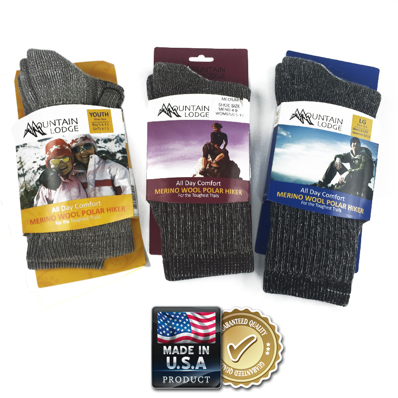 2 Pairs of Merino Wool Socks by Mountain Lodge - Adult And Youth Sizes - Made in USA - QNTY DISCOUNTS AND SHIPS FREE!