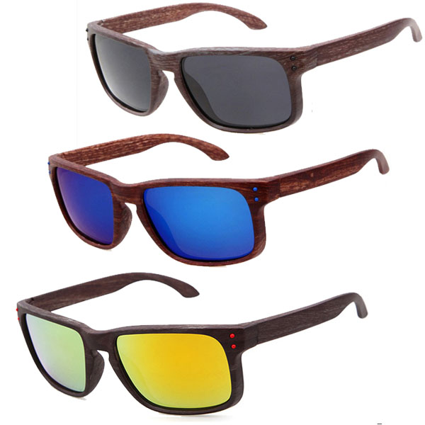 Unisex Polarized Wayfarer Style Wood Pattern Sunglasses