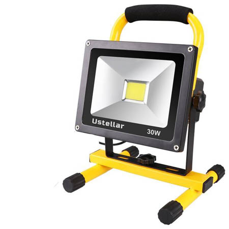 Heavy Duty 2400 Lumen Rechargeable 30W LED Rotating Weatherproof Work Light / Flood Light - Great for camping, work and more! Stays cool to the touch! 11
