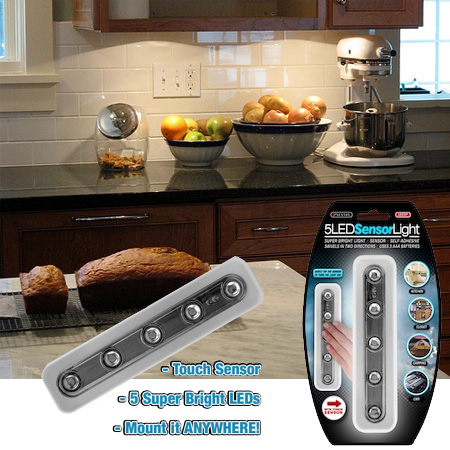 wireless 5 led tap light perfect for under cabinets ships free. Black Bedroom Furniture Sets. Home Design Ideas