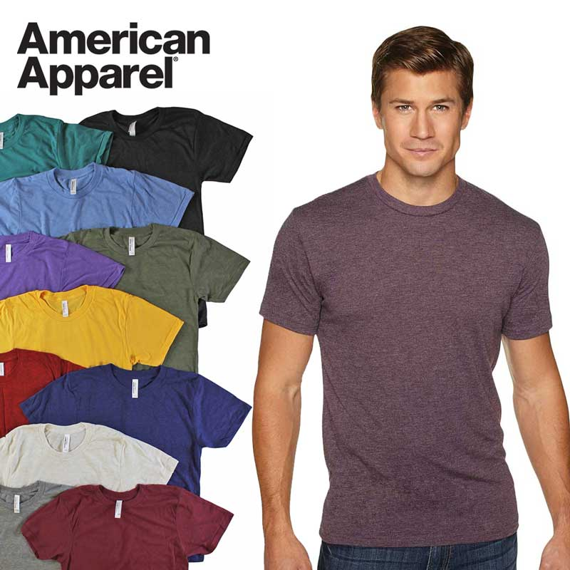 5 Pack American Apparel Tri-Blend Soft Short Sleeve T-Shirts