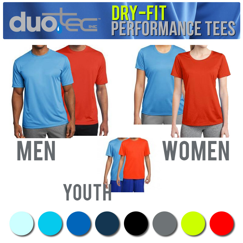 Duo Tec Dry-Fit Performance Tees For Men, Women or Youth - 1 for $6.49, 2 for $12 or 6 for $25.98 - SHIPS FREE!