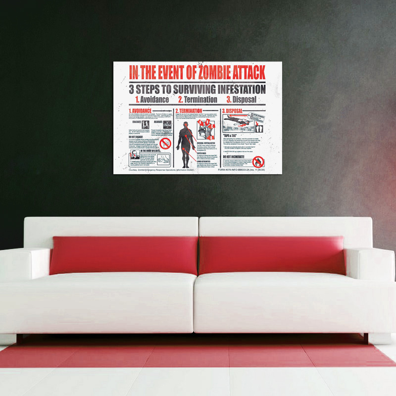 In The Event Of A Zombie Attack - POSTER (2 Sizes Available) SHIPS FREE!