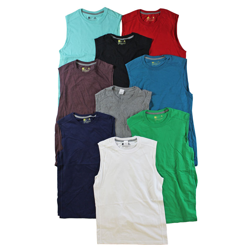 6 Pack of Men's Sleeveless Tee Shirts (Assorted Colors)