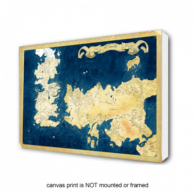 Game of Thrones Inspired: The Known World Map - Canvas Print  - SHIPS FREE!