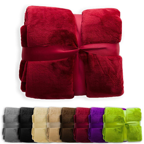 4 Pack of Super Soft Plush Coral Fleece Blankets in Assorted Colors