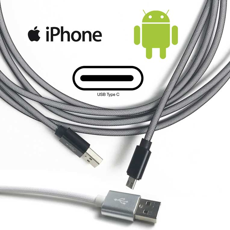 10 Foot High Speed Armored Charge Cables - Extra Long and Extra Durable! No kinking cords! Available in iPhone, Android and USB Type C - Order 3 or more for just $6.99 each! SEE THE VIDEO! Grab one for every room, the office and the car (they reach the back seat!) - SHIPS FREE!