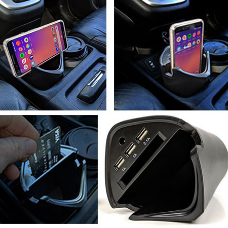 FLASH SALE - Smart USB Car Charger Cup - Fits in your cup holder, charges up to 3 USB devices, holds your phone and more! SHIPS FREE!