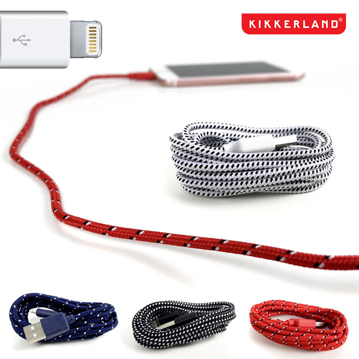 8 Pack of 6 Foot Cloth Covered iPhone Cables by Kikkerland - Just $1.49 Per Cable! SHIPS FREE!