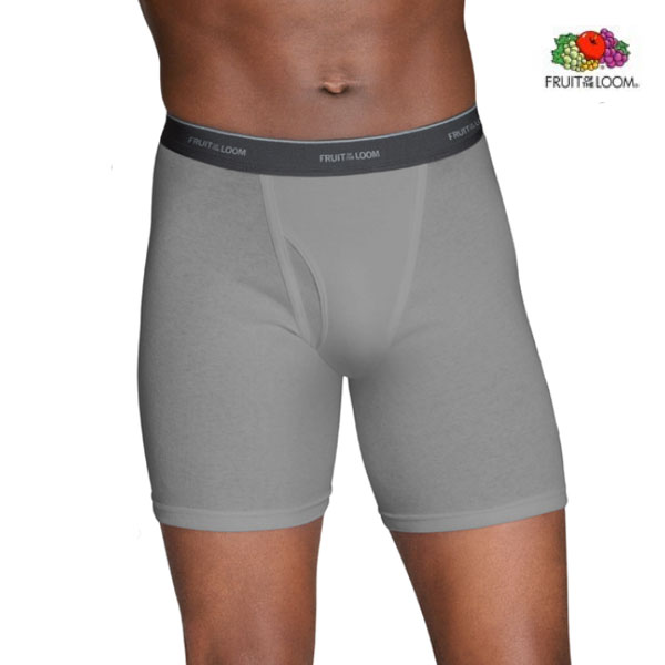 12 Pairs of Big Men's Fruit of the Loom Tagless Boxer Briefs with Dual Defense Wicking and Odor Protection - 2X or 3X available! Order 2 + for only $28.49! Only $2.37 per pair! - SHIPS FREE!