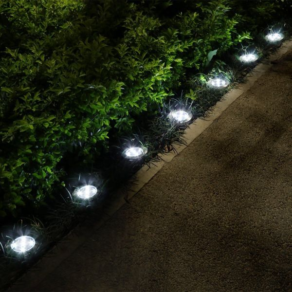 In Ground Lighting Inside Pack Of Led Solar In On Ground Lights Great For Pathways Gardens And More Use With Or Without The Included Ground Stakes Pathways