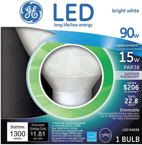 INSANE DEAL - GE 90w Replacement 15 Watt PAR38 LED Indoor / Outdoor Floodlight / Recessed Light - Bright White -  $20 - $25 EACH on amazon and in stores! Order 6 or more for only $5.99 each! Limit 18 Per Customer, but UNLIMITED FREE SHIPPING!