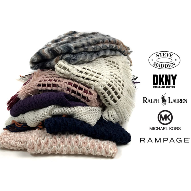 CLEARANCE SALE! SEE THE VIDEO - Set of 5 Women's Designer Winter Hats or Scarves - All Brands From Macy's - Rampage, Ralph Lauren, Michael Kors, DKNY etc  - Order 3+ for just $19.95 - Just $3.99 per item! (These retail for $36-$96 each!) SHIPS FREE!
