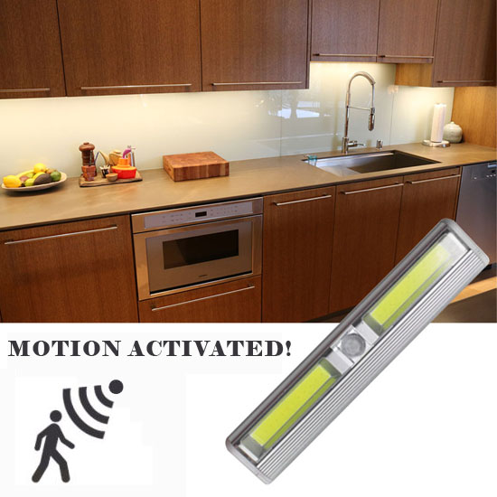 Wireless Instant Stick Up Motion Activated COB LED Under / Inside Cabinet Lighting - Also great to stick in drawers for light when you open it! Batteries Included! - Order 6+ for $5.99 each! SHIPS FREE!
