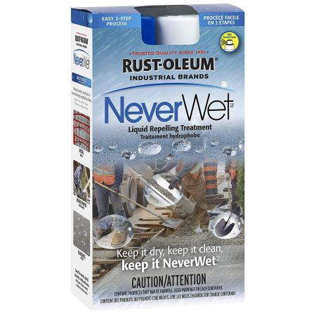 GREAT FOR RAINY SEASON - Rust-Oleum NeverWet Liquid Repelling Treatment Frosted Clear Spray Kit - Causes water to roll off the surface keeping items dry and clean - use on safety equipment, gutters, condenser coils, signs, work boots, pipes, machinery, motors, pumps and more! ORDER 3 OR MORE FOR ONLY $4.33 EACH! SHIPS FREE!