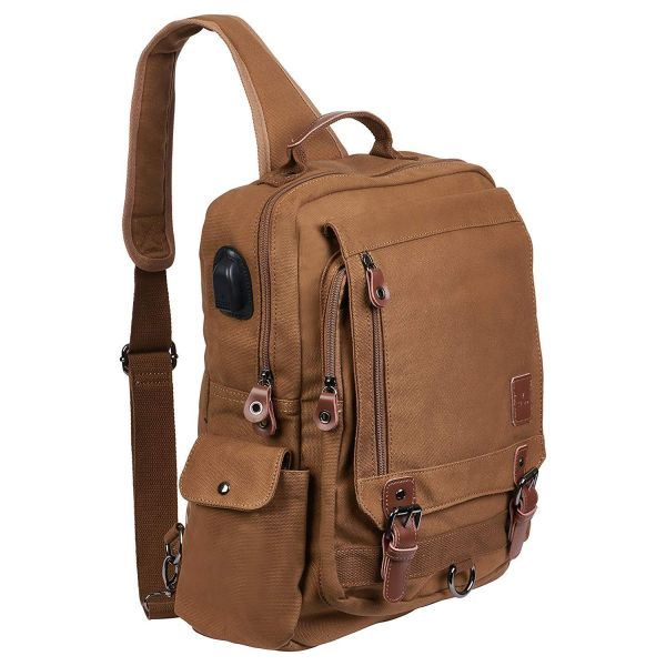 INSANE PRICE WHEN YOU ORDER 2 OR MORE! - Laptop / Tablet Tech Gear Sling Canvas Bag with USB Power Port - Charge your phone and devices through the bag! Order 2 or more for just $19.99 each! SHIPS FREE!