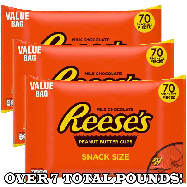 3-Pack Bags of Reese's Peanut Butter Snack Size Cups (7.8 lbs)