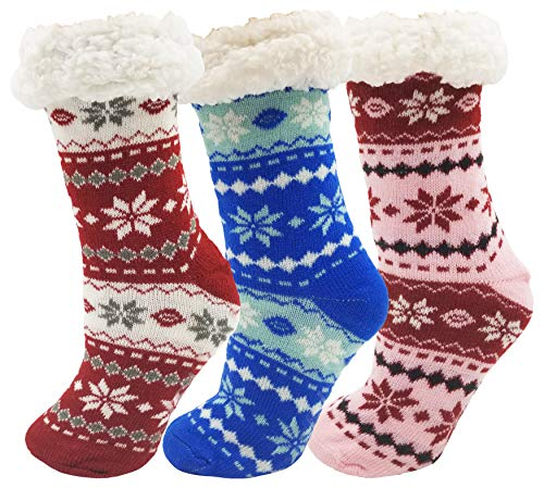 2 Pairs of Fluffy Thermal Ultra Soft Sherpa Socks with Non Skid Grippers