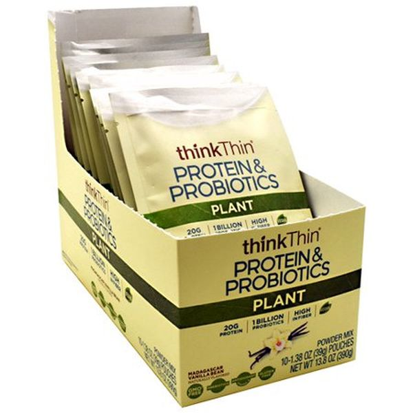 5 Pack of thinkThin Plant Protein & Probiotics Single Serve Pouches