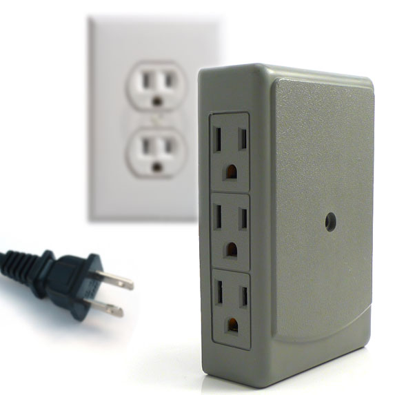 6 Plug Side Entry Wall Outlet Multiplier - Creates more space & no more kinked cords! - UNLIMITED FREE SHIPPING PLUS QNTY DISCOUNTS!