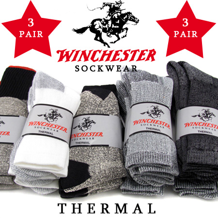 3 Pairs Of Winchester Thermal Socks - Made in USA! Order 6+ 3 packs for just $5.97 each! Just $1.99 per pair! SHIPS FREE!