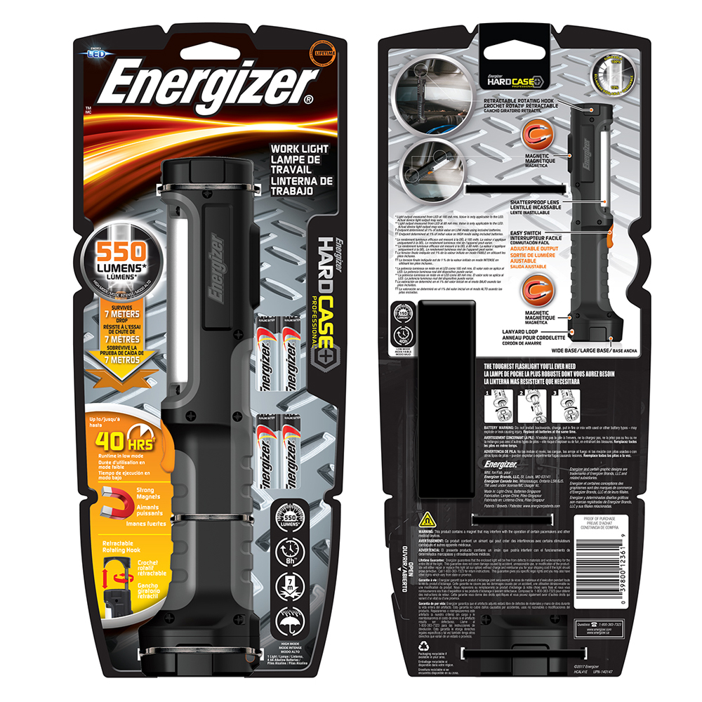 Energizer 550 Lumen Hard Case Professional Work Light - Includes Batteries - Order 2 or more for only $13.99! It's magnetic AND has a swivel hook to hang for hands for use! SHIPS FREE!